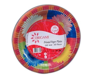 Origami Paper Plates Printed Poly Coated 50 pcs 230 mm