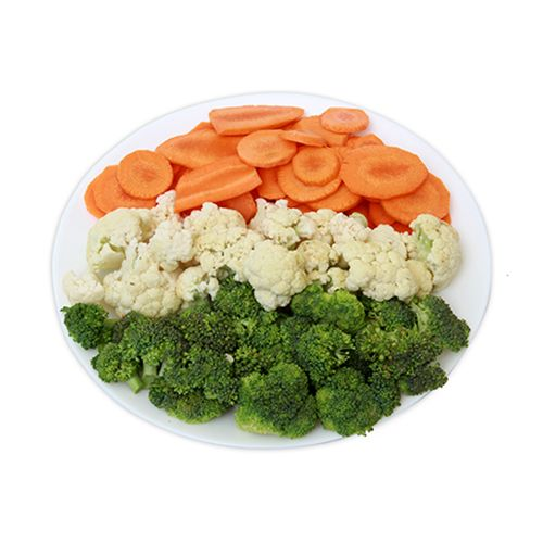 Carrots Sliced Brocoli Florets and Cauliflower Florets