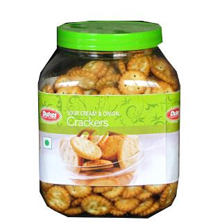 Dukes Sour Cream and Onion Crackers Jar