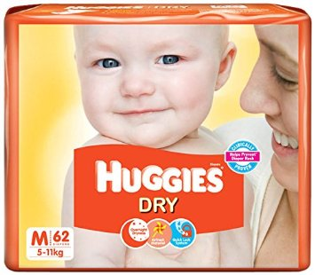 Huggies Dry Comfort Diapers Medium 5 to 11 Kg 62 pcs