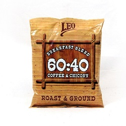 Leo Coffee and Chicory Breakfast Blend Roast and Ground 100gm Pouch