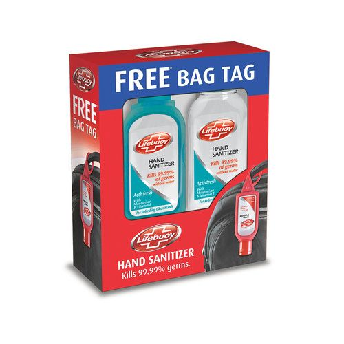 Lifebuoy Hand Sanitizer Active Fresh 55 ml Pack of 2 and Get Free Bag Tag
