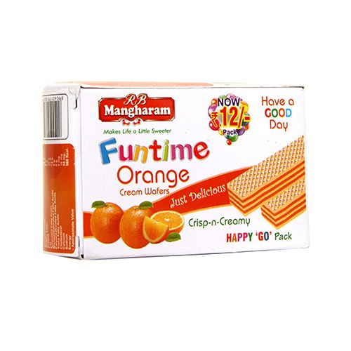 Mangharam Funtime Cream Wafers Orange