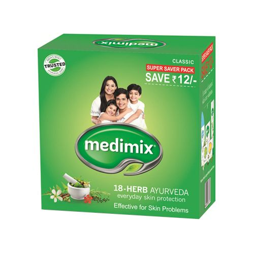 Medimix Bathing Soap Ayurvedic Soap with 18 Herbs 125 gm Pouch Pack of 3