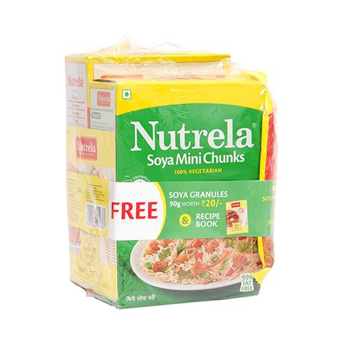 Nutrela Soya Mini Chunks Combi 510g Get Soya Granules and Recipe Book Free