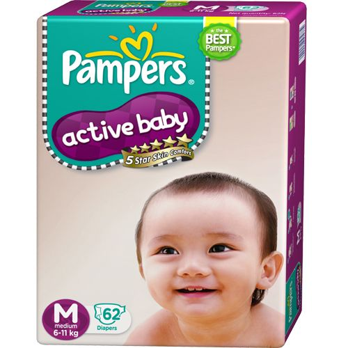 Pampers Active Baby Diapers Medium 6 and 11 kgs